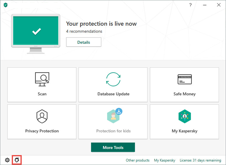 Opening the Support window of a Kaspersky application