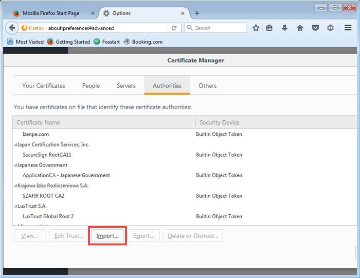 Image: the certificate management window in Firefox