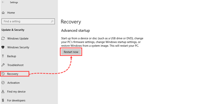 Windows 10 restart into the troubleshoot mode