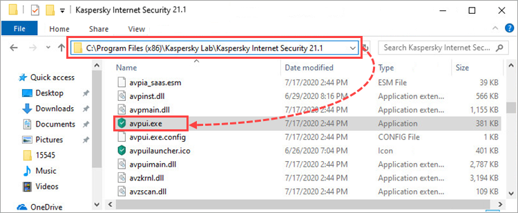 How to open a Kaspersky application