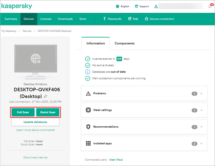 Image: running a full scan via the My Kaspersky web portal