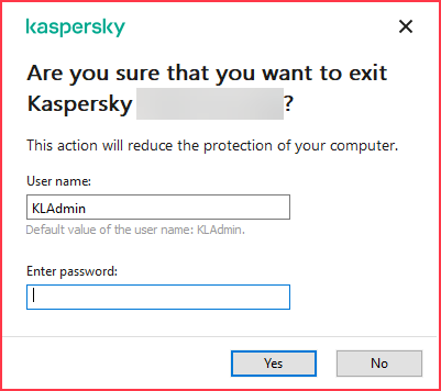 Image: Password request window in Kaspersky Lab product