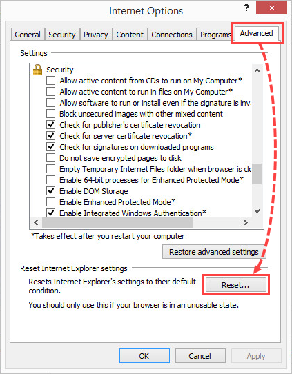 Opening the Internet settings reset window in Internet Explorer