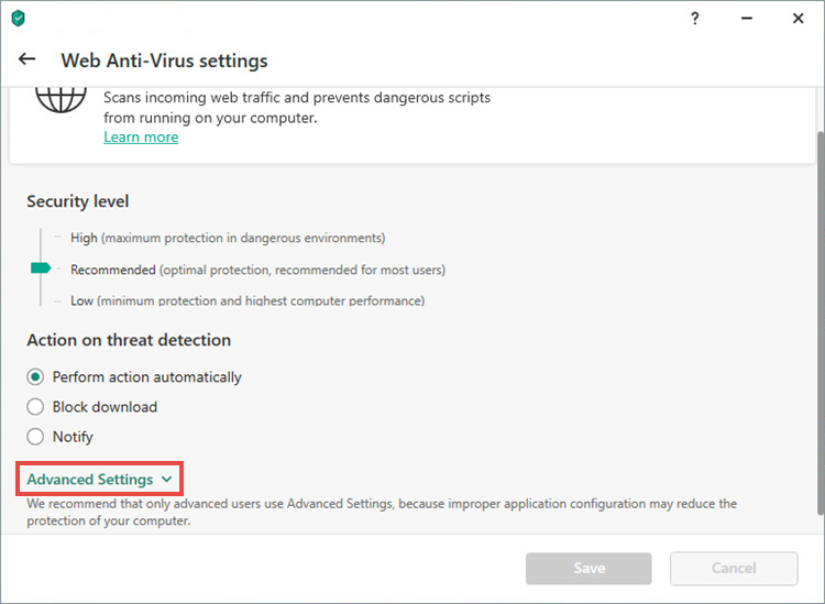 Web Anti-Virus settings in a Kaspersky application