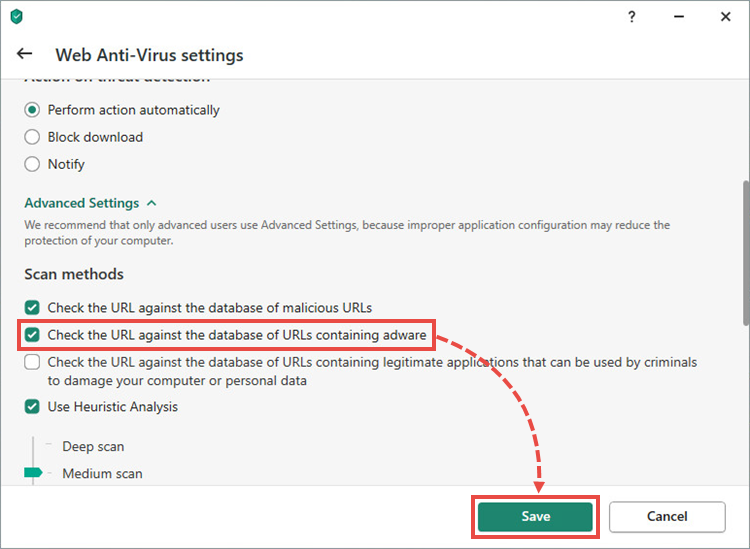 The advanced settings in a Kaspersky application