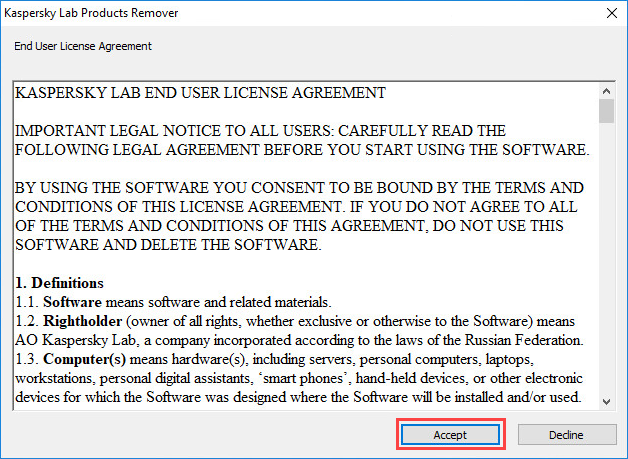 Removal tool for Kaspersky Lab applications (kavremover)