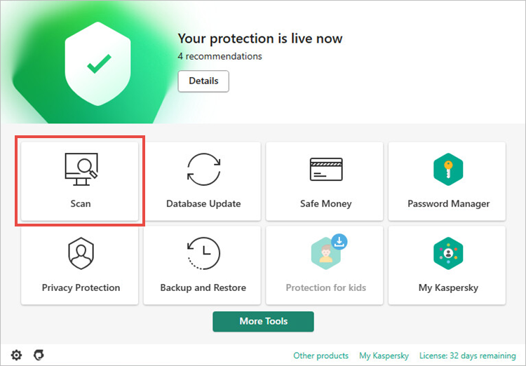 Opening the settings of Kaspersky Internet Security 19