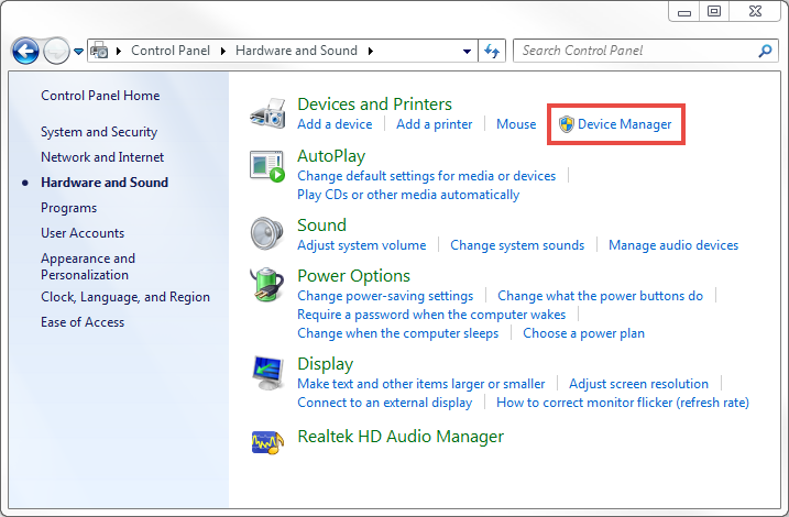 Opening the Device Manager in Windows