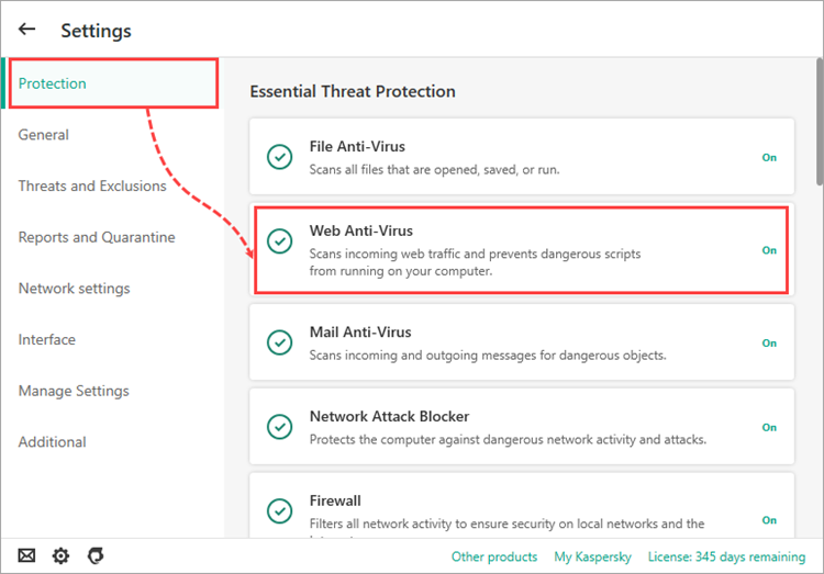 Opening Web Anti-Virus Settings in a Kaspersky application