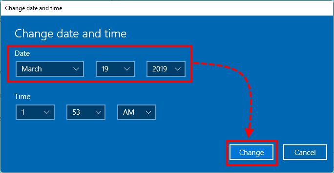 The Change time and date window.