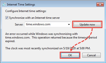 The Internet time settings window in Windows 7.