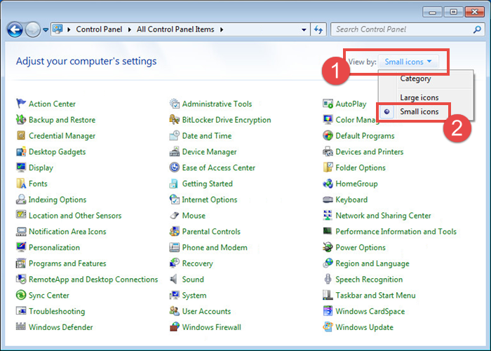Changing view settings of Control panel in Windows 7