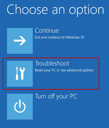 Opening troubleshooting options in Windows 10