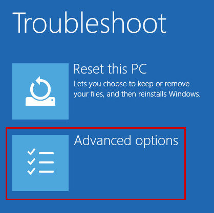 Opening the advanced Windows startup options