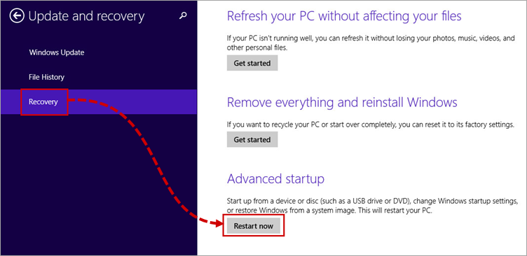 Rebooting the PC to enable Safe Mode in Windows 8, 8.1