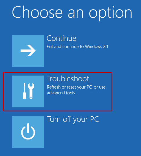 Opening the Troubleshoot section in Windows 8, 8.1