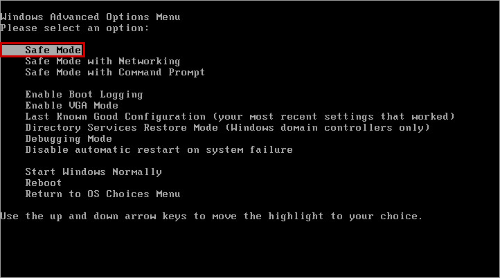 Starting up Safe Mode from the Windows advanced options menu