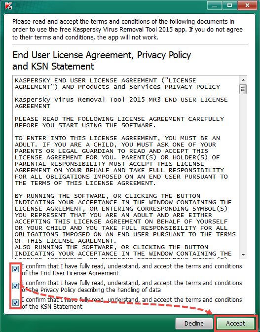 The license agreement and the privacy policy window