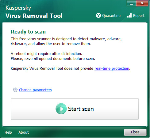 Kaspersky Virus Removal Tool main window