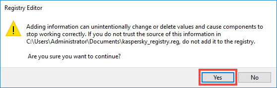 Confirming registry import