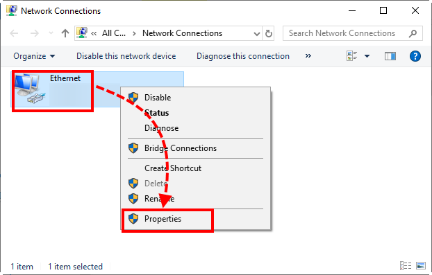 Opening the network device properties in Windows 10