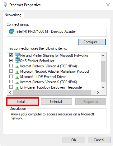 Going to Client for Microsoft Networks installation in Windows 10