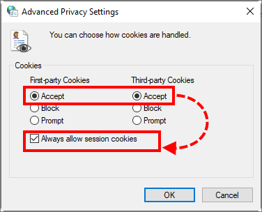 Allowing cookies in Windows 10