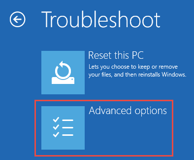 Image: advanced Troubleshooting options