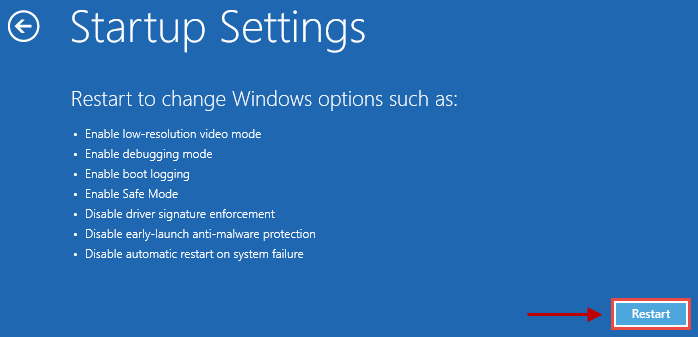 Image: Windows 10 startup settings