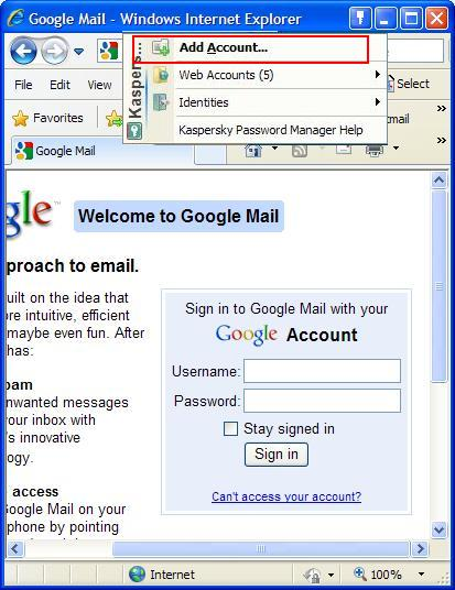 How to save Gmail account in Password Manager in Kaspersky