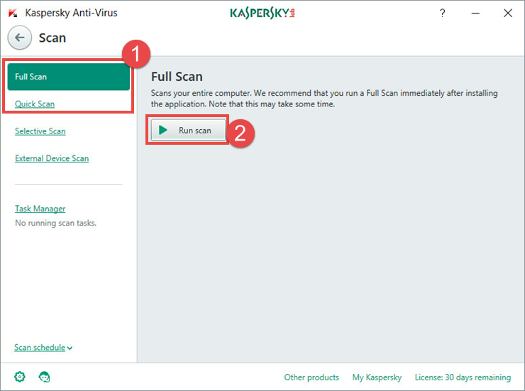 Image: scan window in Kaspersky Anti-Virus 2018