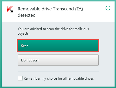 Image: the notification on checking the removable drive.