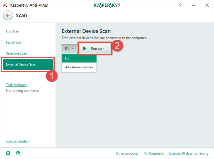 Image: launching an external device scan in Kaspersky Anti-Virus 2018.