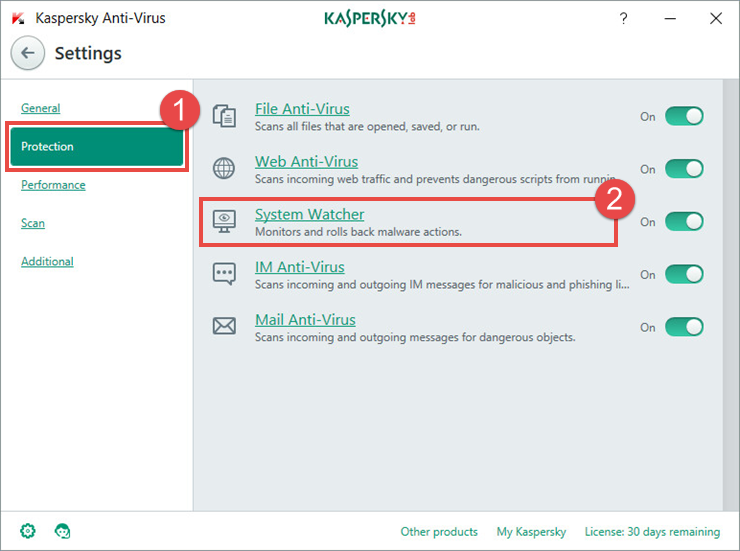 Image: the Settings window of Kaspersky Anti-Virus 2018
