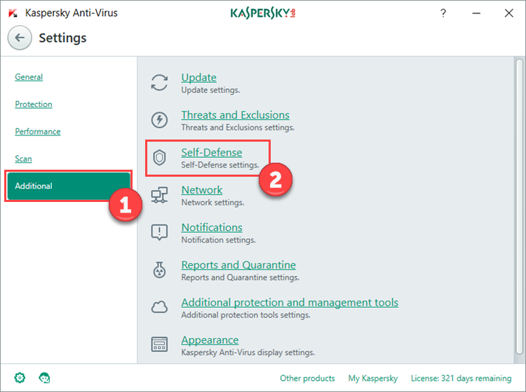 Image: the Settings window in Kaspersky Anti-Virus 2018