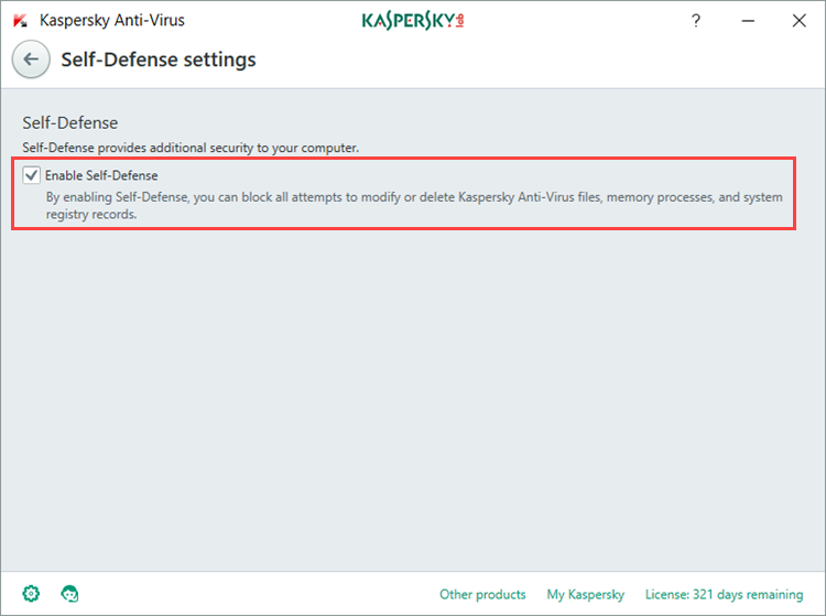 Image: the Self-Defense settings window in Kaspersky Anti-Virus 2018