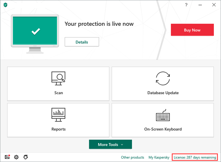 Opening the Licensing window of Kaspersky Anti-Virus 20
