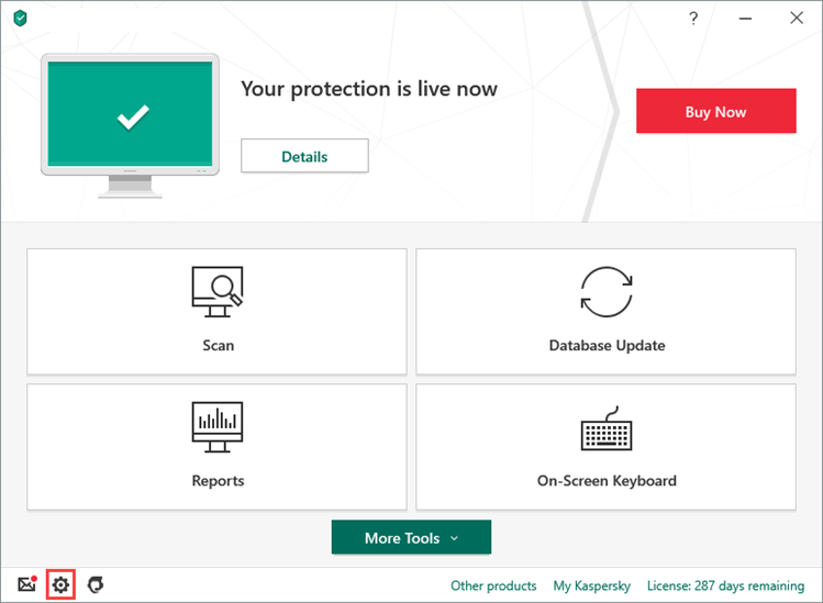 The Settings window of Kaspersky Anti-Virus 20