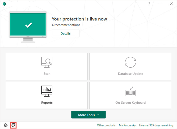 Opening the Support window of Kaspersky Anti-Virus 20