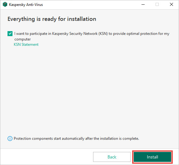 Installation wizard window with the Kaspersky Security Network Statement link and Install button.