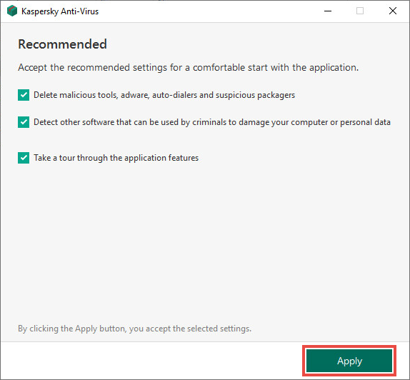 Recommended settings window.