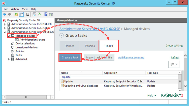 Image: Creating a group task in Kaspersky Endpoint Security 10 for Windows