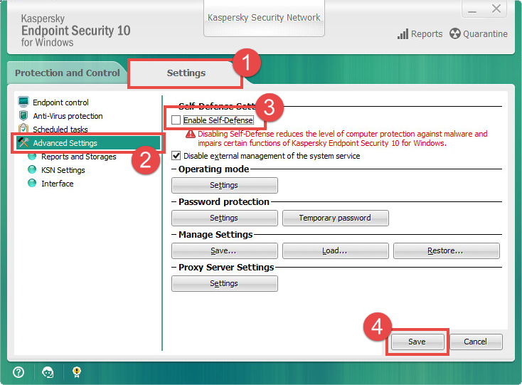 Changing the Kaspersky Endpoint Security 10 settings.