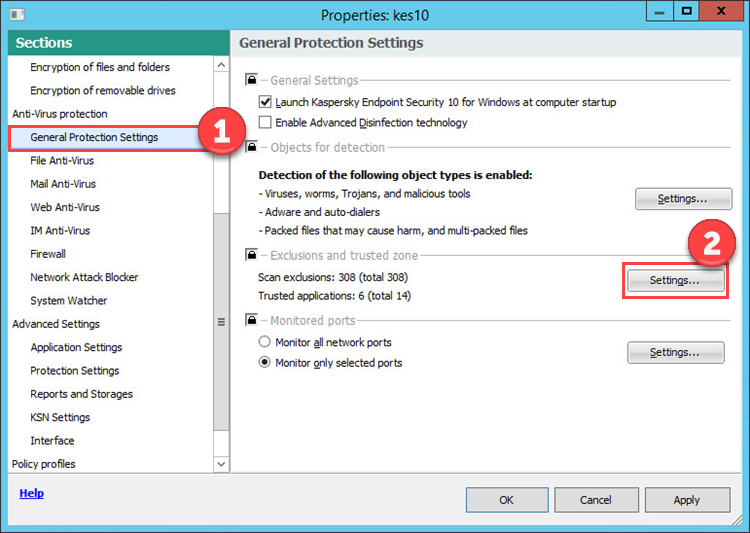 Image: Kaspersky Endpoint Security 10 policy properties