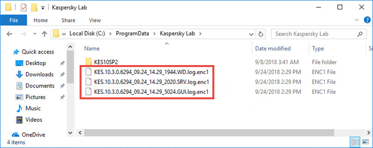 Trace files in Kaspersky Endpoint Security 10 for Windows
