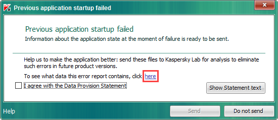 Error at the previous startup of Kaspersky Endpoint Security.