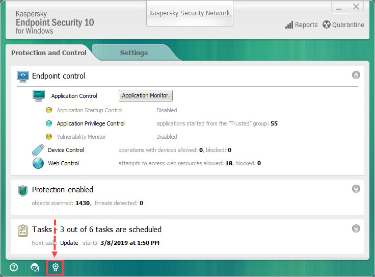 Where to view license information in the Kaspersky Endpoint
