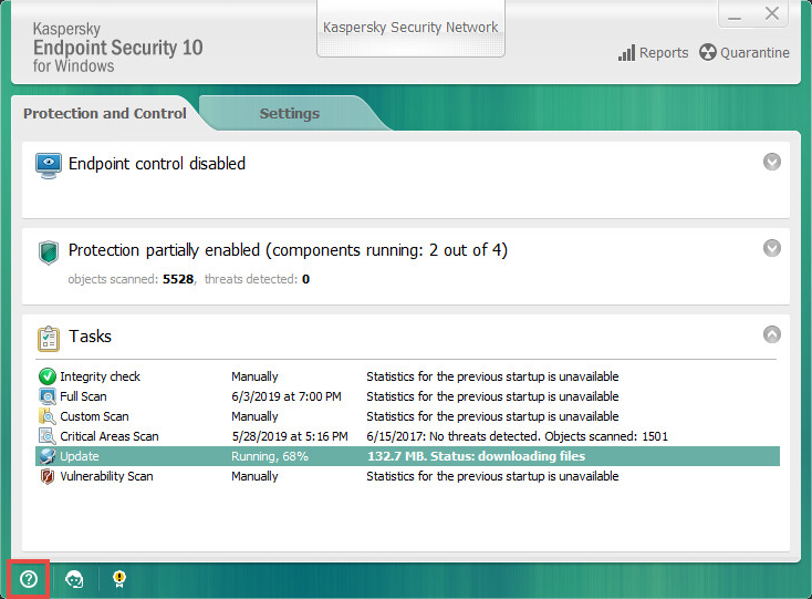Opening the support information in Kaspersky Endpoint Security 10 for Windows