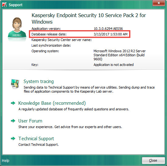 Information about antivirus databases in Kaspersky Endpoint Security 10 for Windows