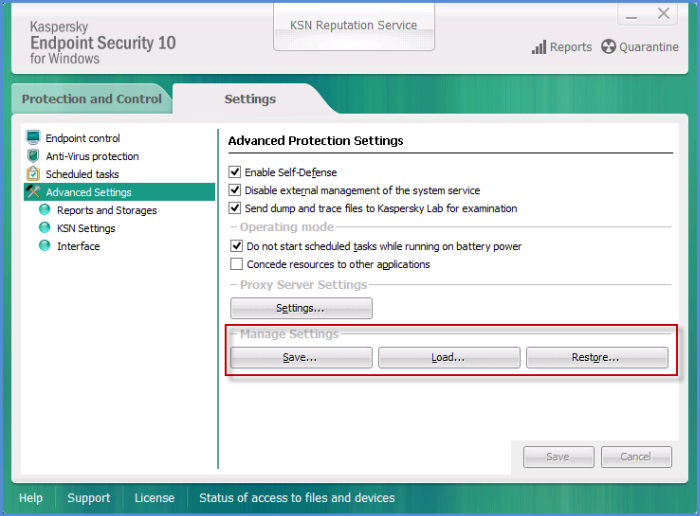 How to use a configuration file in Kaspersky Endpoint